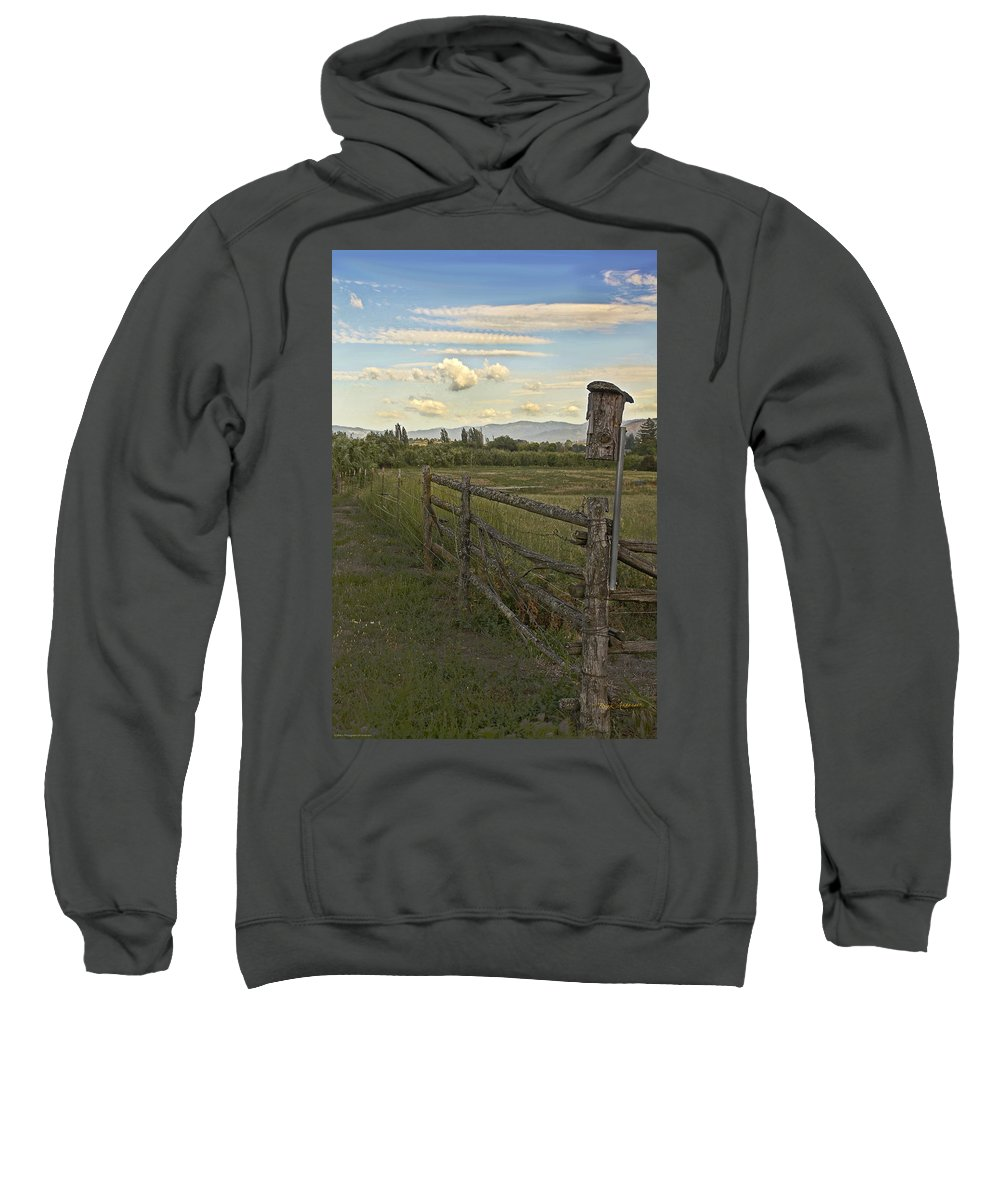 Rural Sweatshirt featuring the photograph Rural Birdhouse On Fence by Mick Anderson