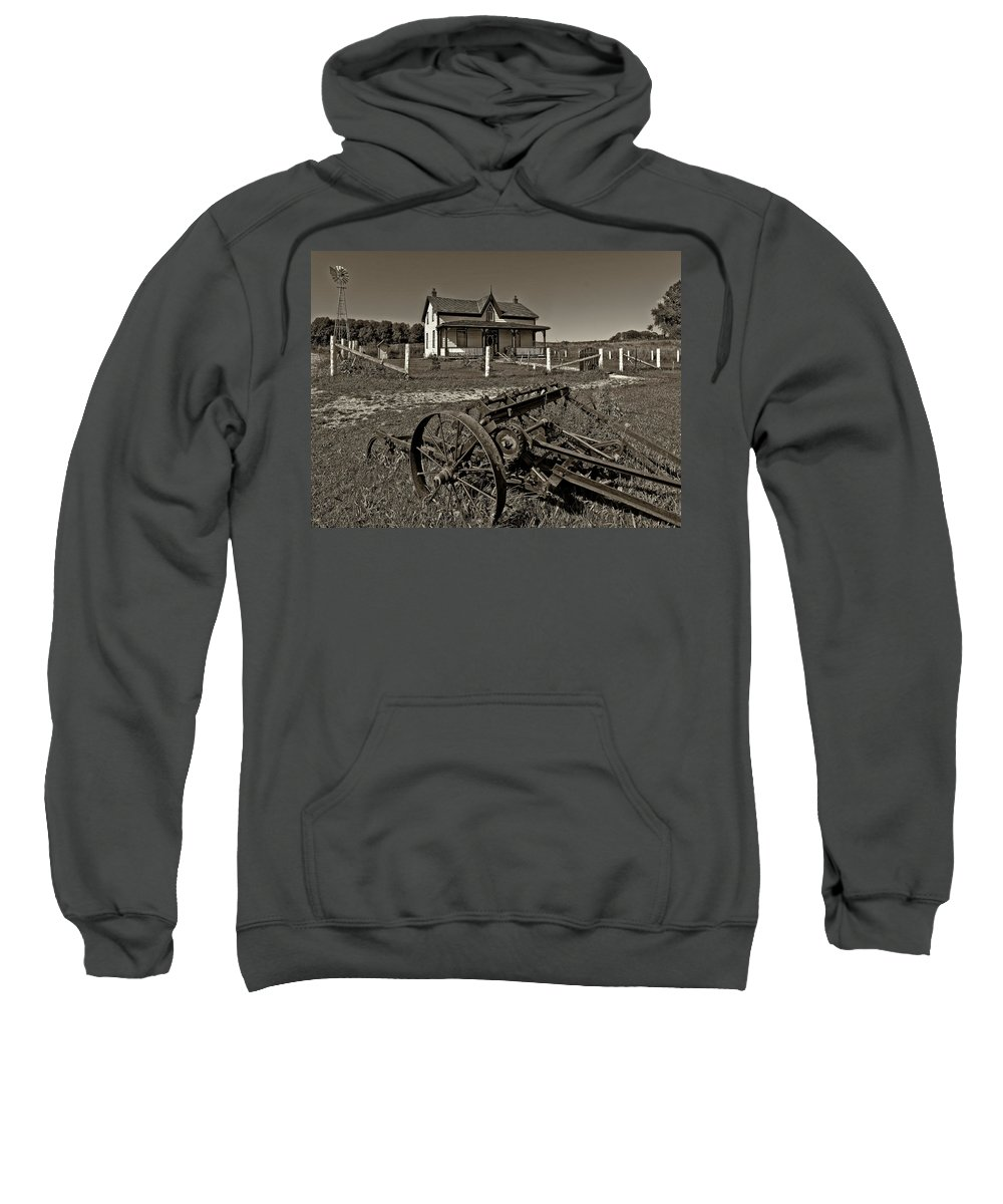 Grey Roots Museum & Archives Sweatshirt featuring the photograph Rural Ontario Sepia by Steve Harrington