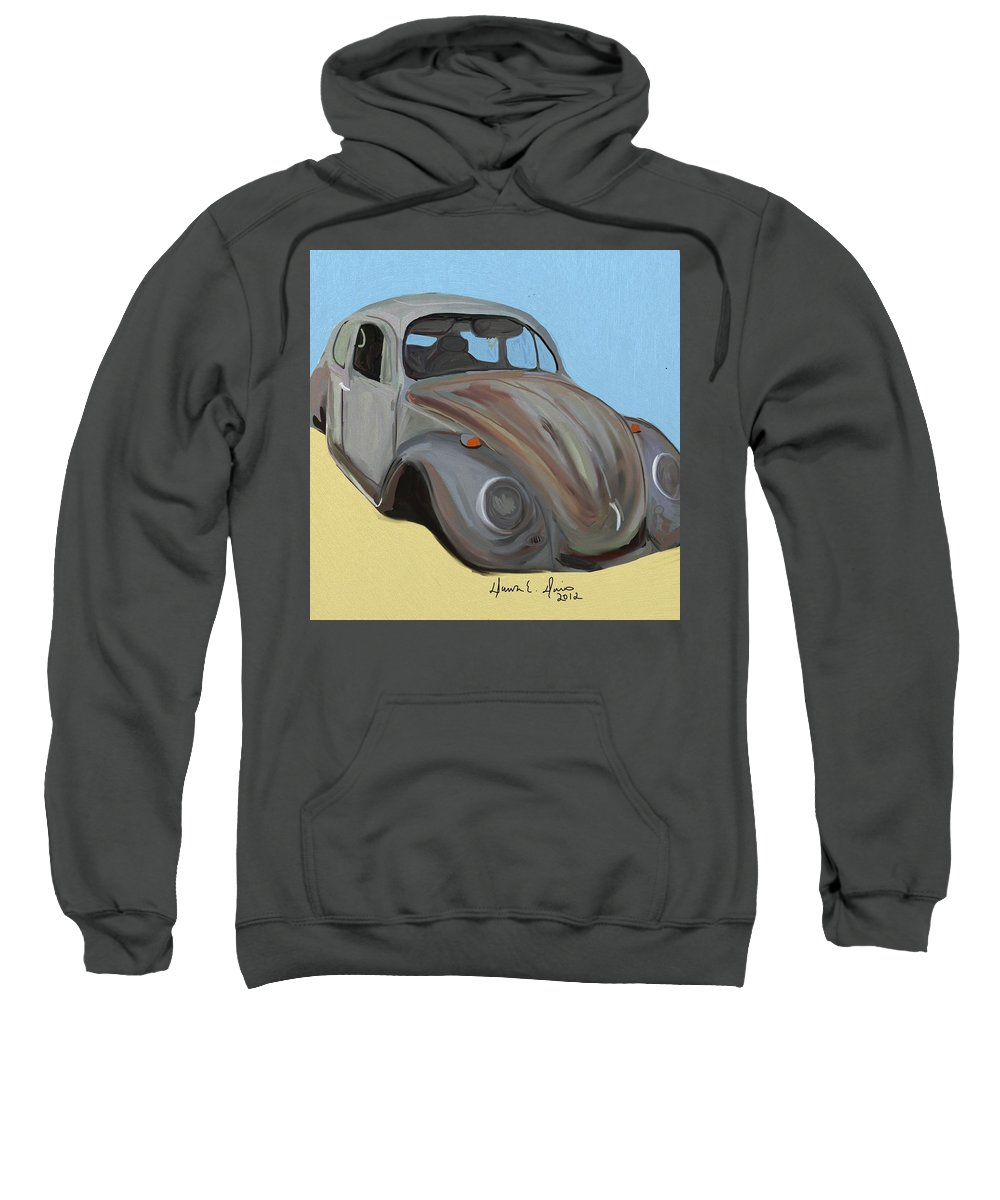 Rusty Sweatshirt featuring the painting Rusty V.w. Bug by Dawn Davis