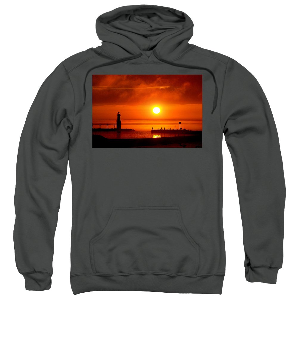 Lighthouse Sweatshirt featuring the photograph Salmon Hunters by Bill Pevlor