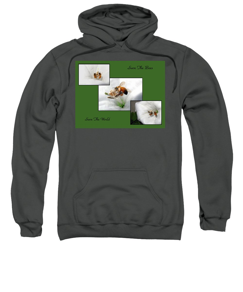 Bee Sweatshirt featuring the photograph Save The Bees Save The World by Joyce Dickens