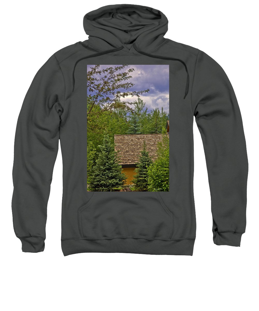 Colorado Sweatshirt featuring the photograph Scene Through The Trees - Vail by Madeline Ellis