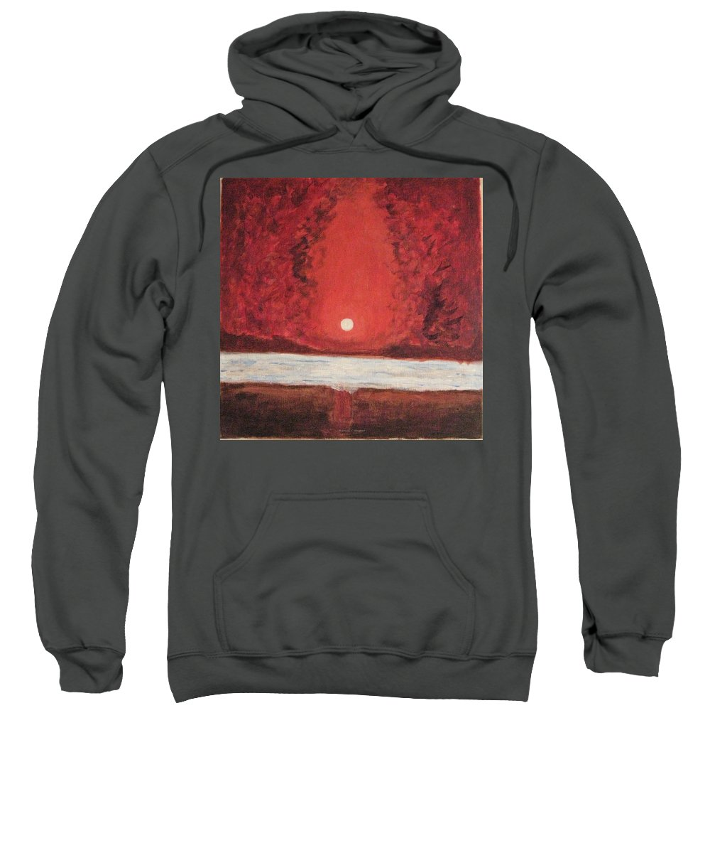 Reflection Of Moon Sweatshirt featuring the painting Sea And Moon by Sonali Gangane