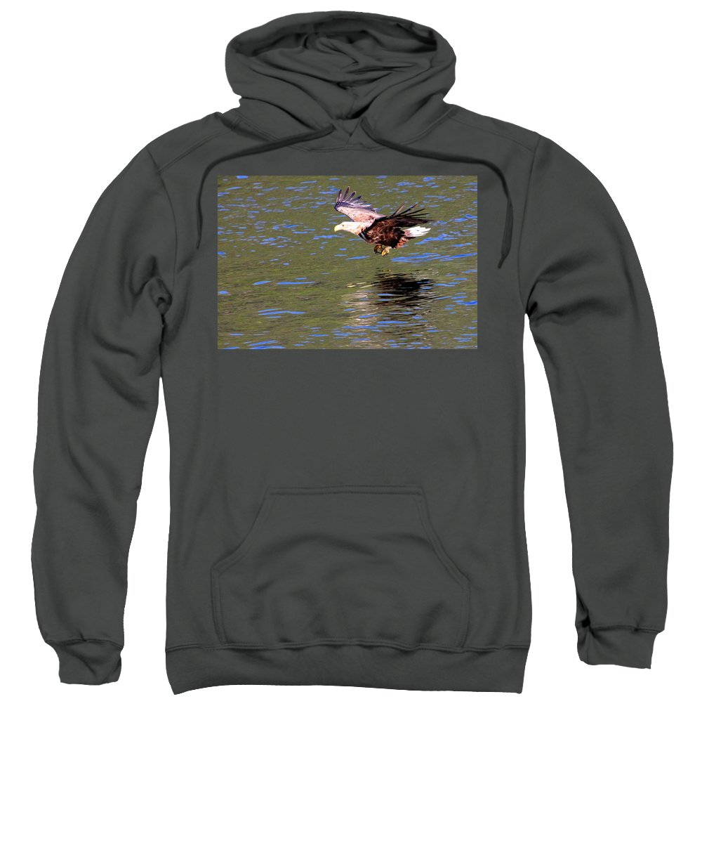 Sea Eagle Sweatshirt featuring the photograph Sea Eagle's Water Landing by Laurel Talabere