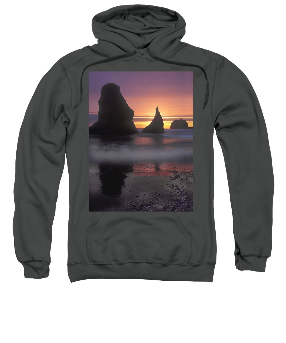 Sea Stacks Sweatshirt featuring the photograph Sea Stacks Off The Oregon Coast by Dave Mills