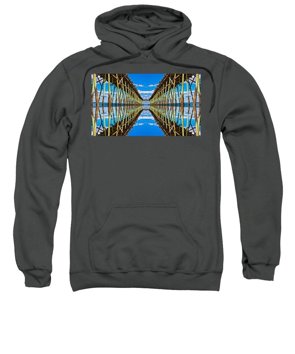 Beach Sweatshirt featuring the digital art Sea Trestle by Betsy Knapp