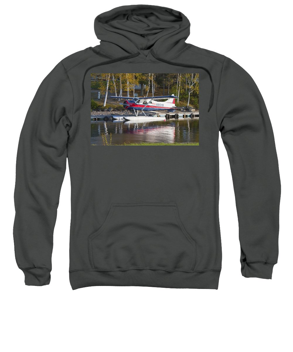 Airplane Sweatshirt featuring the photograph Seaplane On Moosehead Lake In Maine Canvas Photo Poster Print by Keith Webber Jr