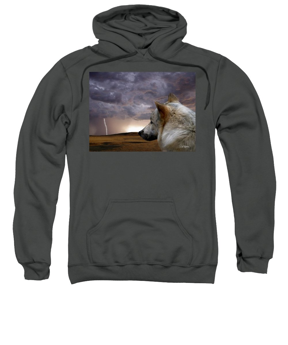 Wolves Sweatshirt featuring the digital art Searching For Home by Bill Stephens