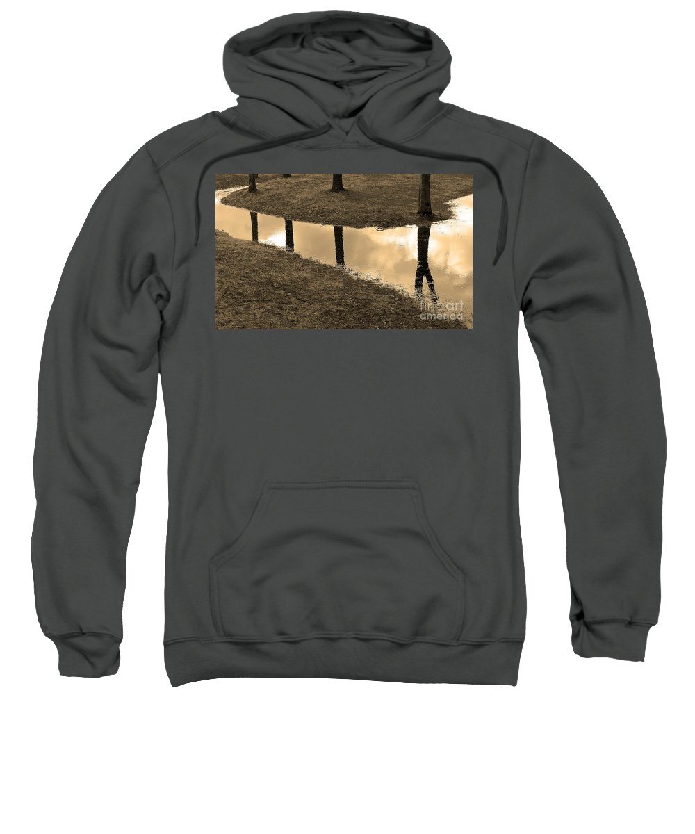 Trees Sweatshirt featuring the photograph Sepia Silhouetted Reflections by Mike Nellums