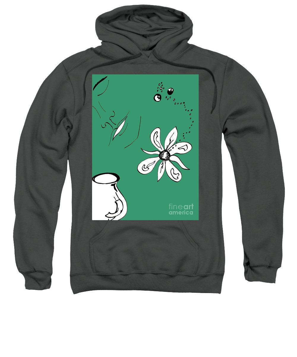 Contemplation Sweatshirt featuring the mixed media Serenity In Green by Mary Mikawoz