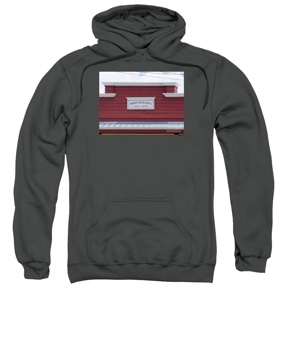 Signs Sweatshirt featuring the photograph Shido Building Circa 1923 by Mary Deal