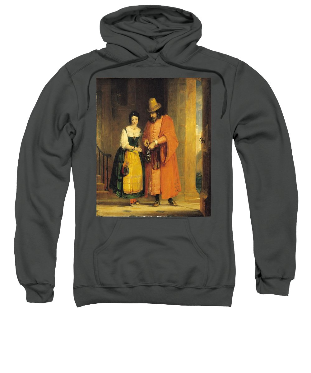 Xyc159664 Sweatshirt featuring the photograph Shylock And Jessica From 'the Merchant Of Venice' by Gilbert Stuart Newton