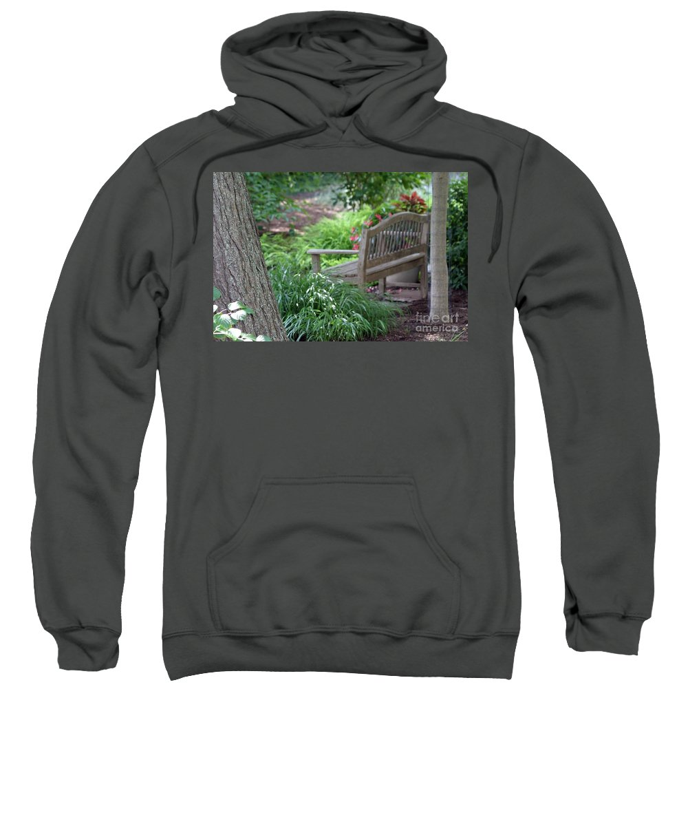 Garden Sweatshirt featuring the photograph Sit For A Spell by Living Color Photography Lorraine Lynch