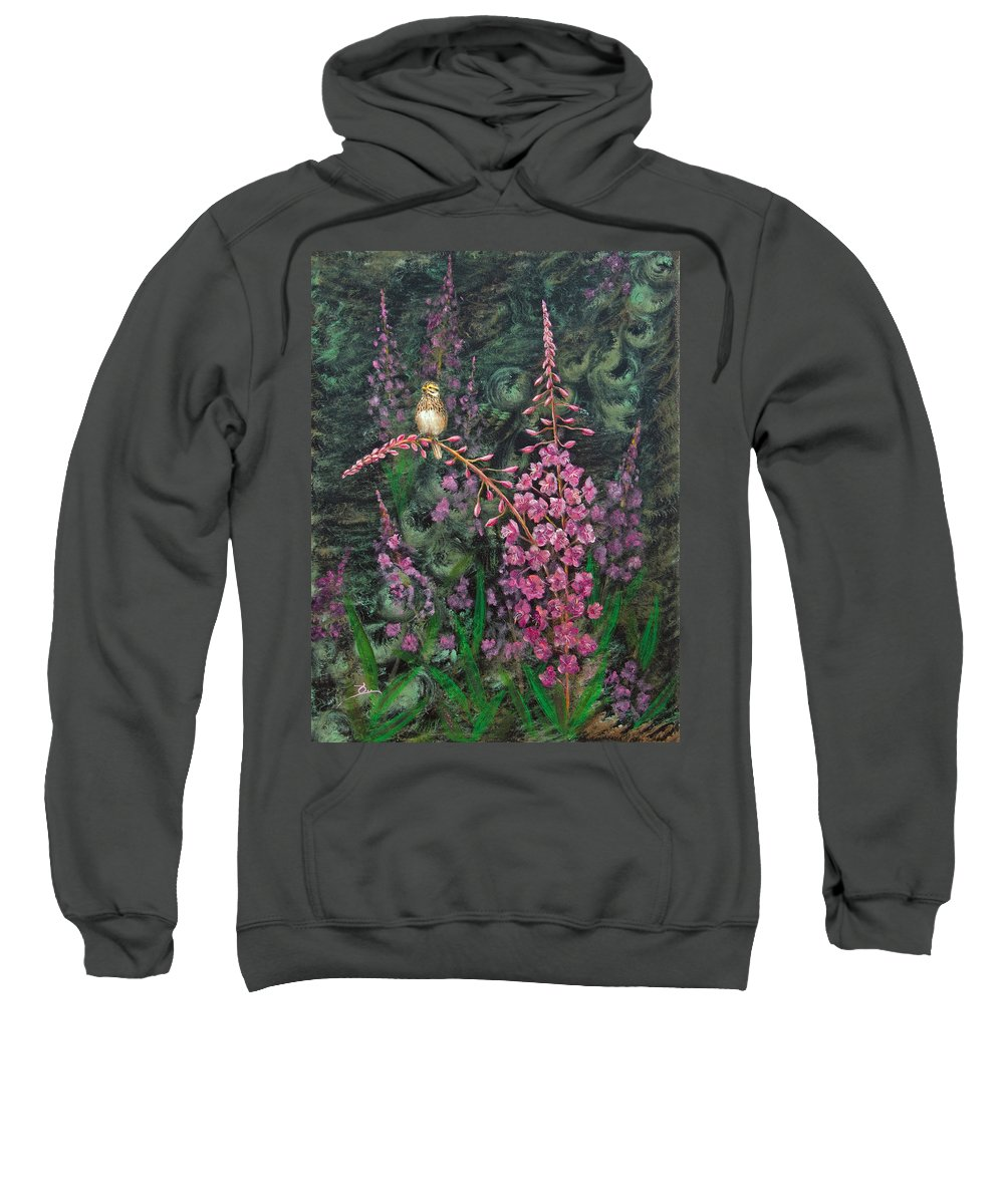 Fireweed Sweatshirt featuring the painting Sittin' Pretty by Dee Carpenter