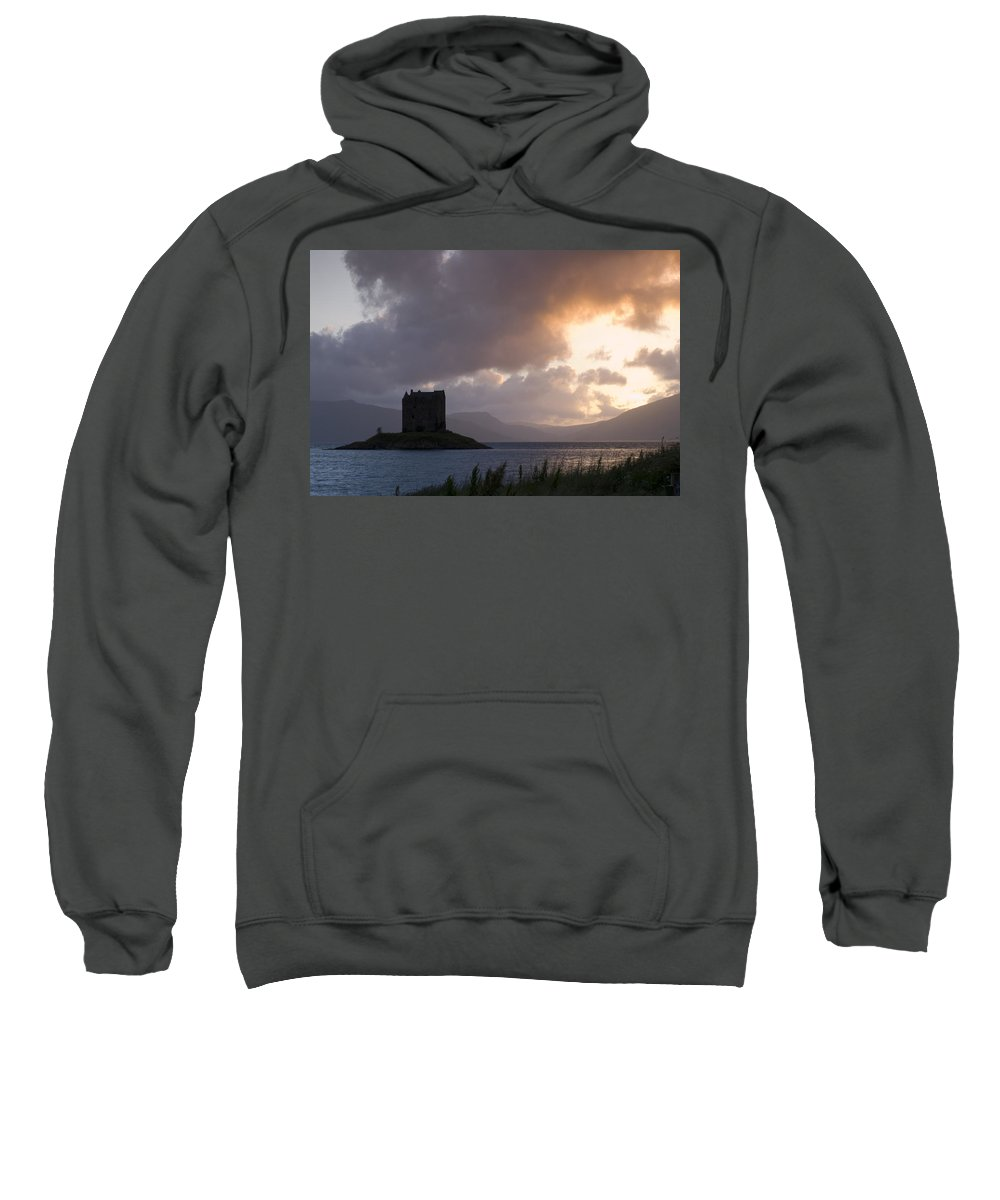 Castle Sweatshirt featuring the photograph Skies Ablaze At Castle Stalker by Howard Kennedy