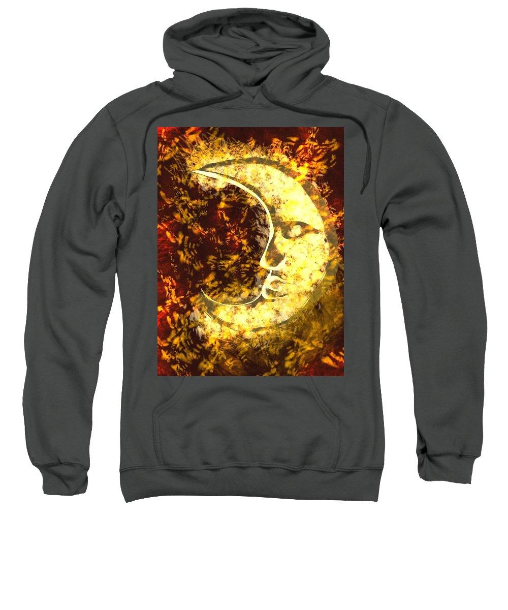 Sweatshirt featuring the digital art sleepy Moon by Mathieu Lalonde