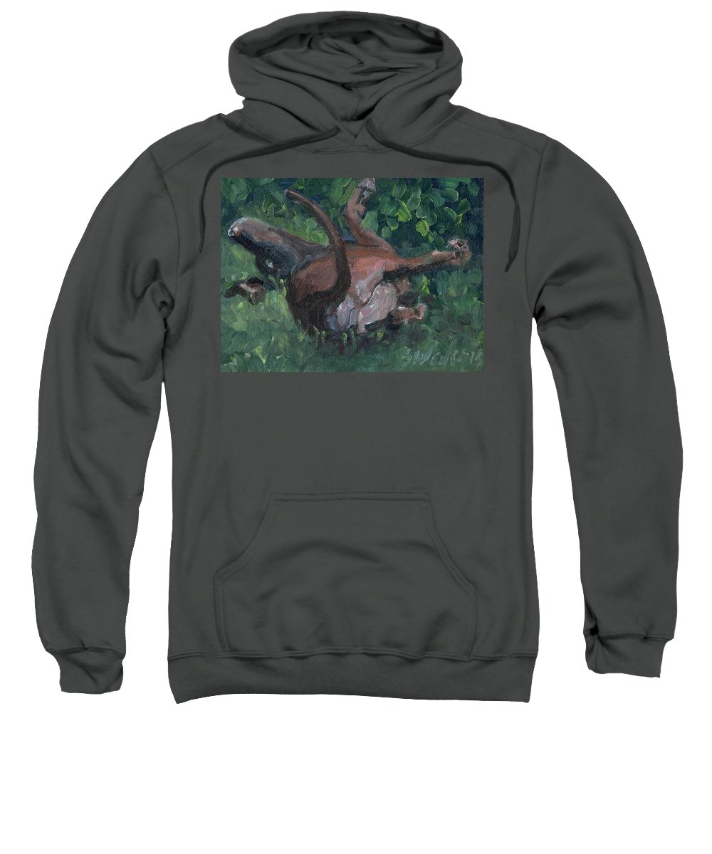 Chocolate Lab Sweatshirt featuring the painting Sliding In by Sheila Wedegis