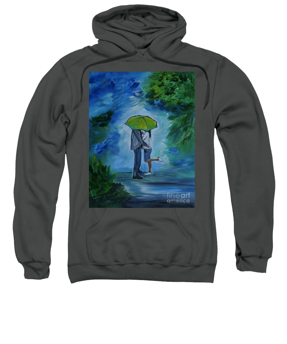 Couple Sweatshirt featuring the painting Sneaking Kisses by Leslie Allen