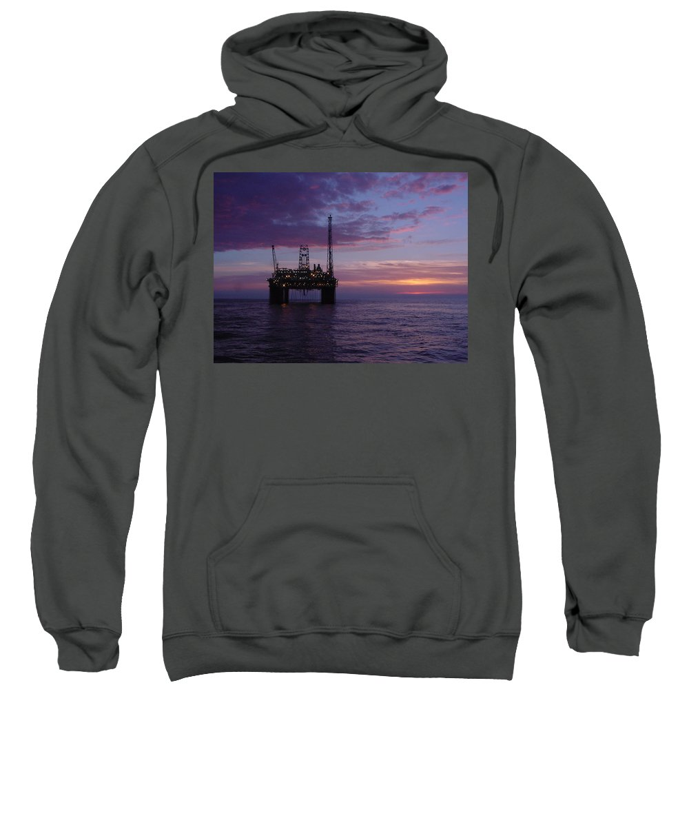 Platform Sweatshirt featuring the photograph Snorre Sunset by Charles and Melisa Morrison