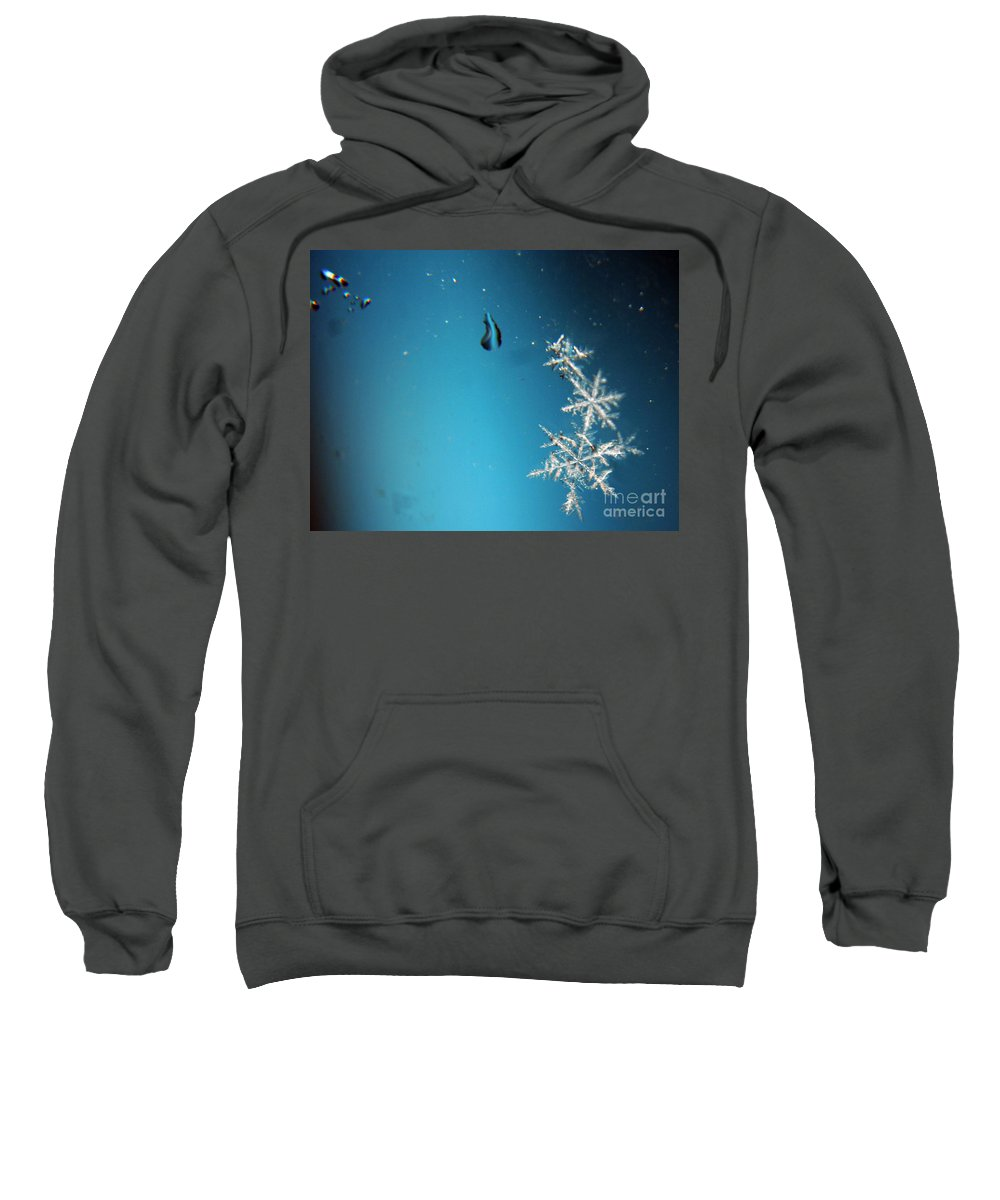 Snowflakes Sweatshirt featuring the photograph Snowflakes On My Window by Heather Applegate