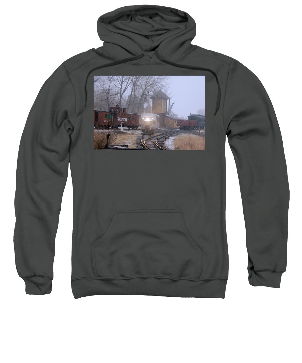 Steam Train Photographs Sweatshirt featuring the photograph Snows A Coming by Ken Smith