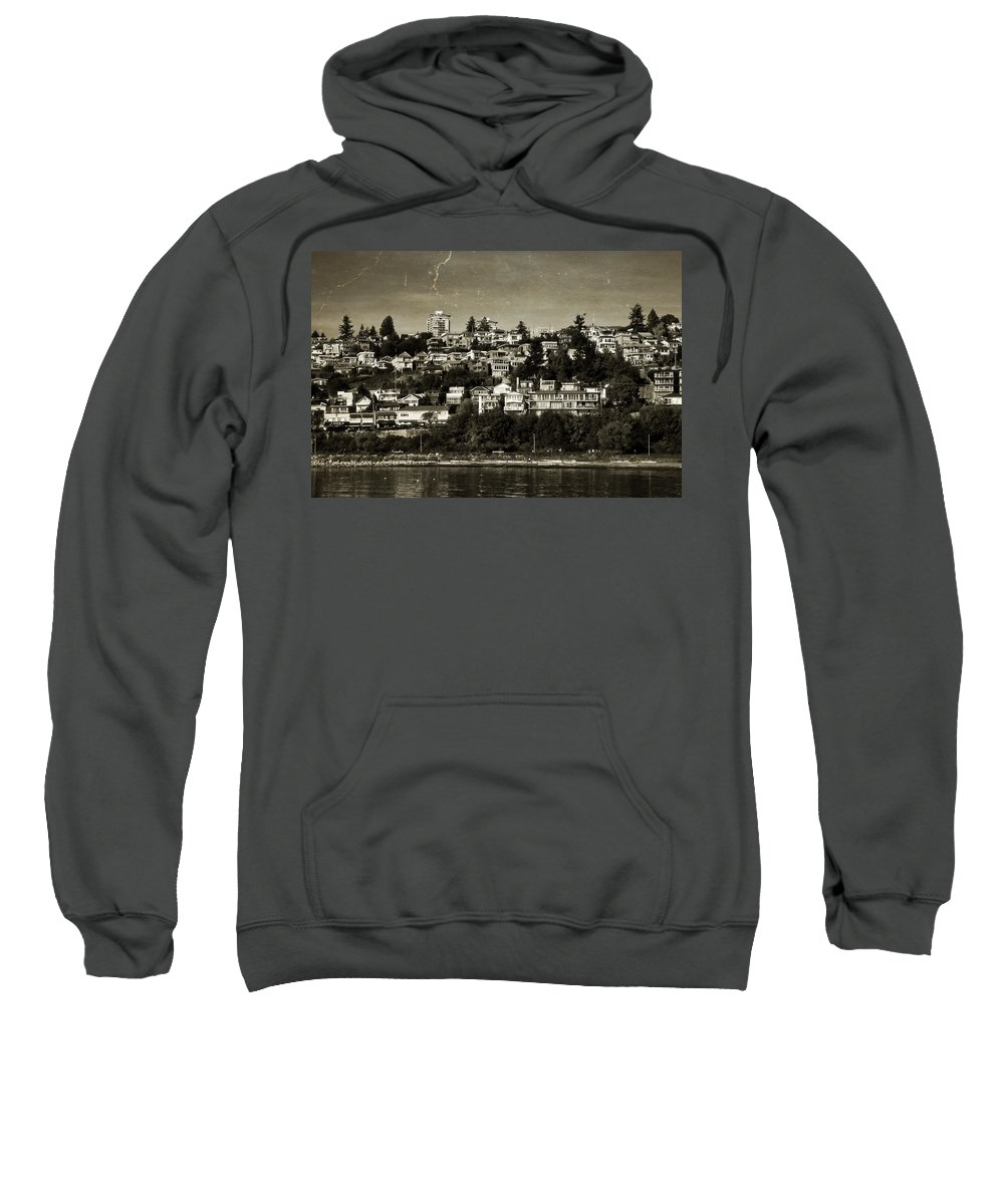 Black And White Sweatshirt featuring the digital art Souvenirs White Rock Bc by Diane Dugas