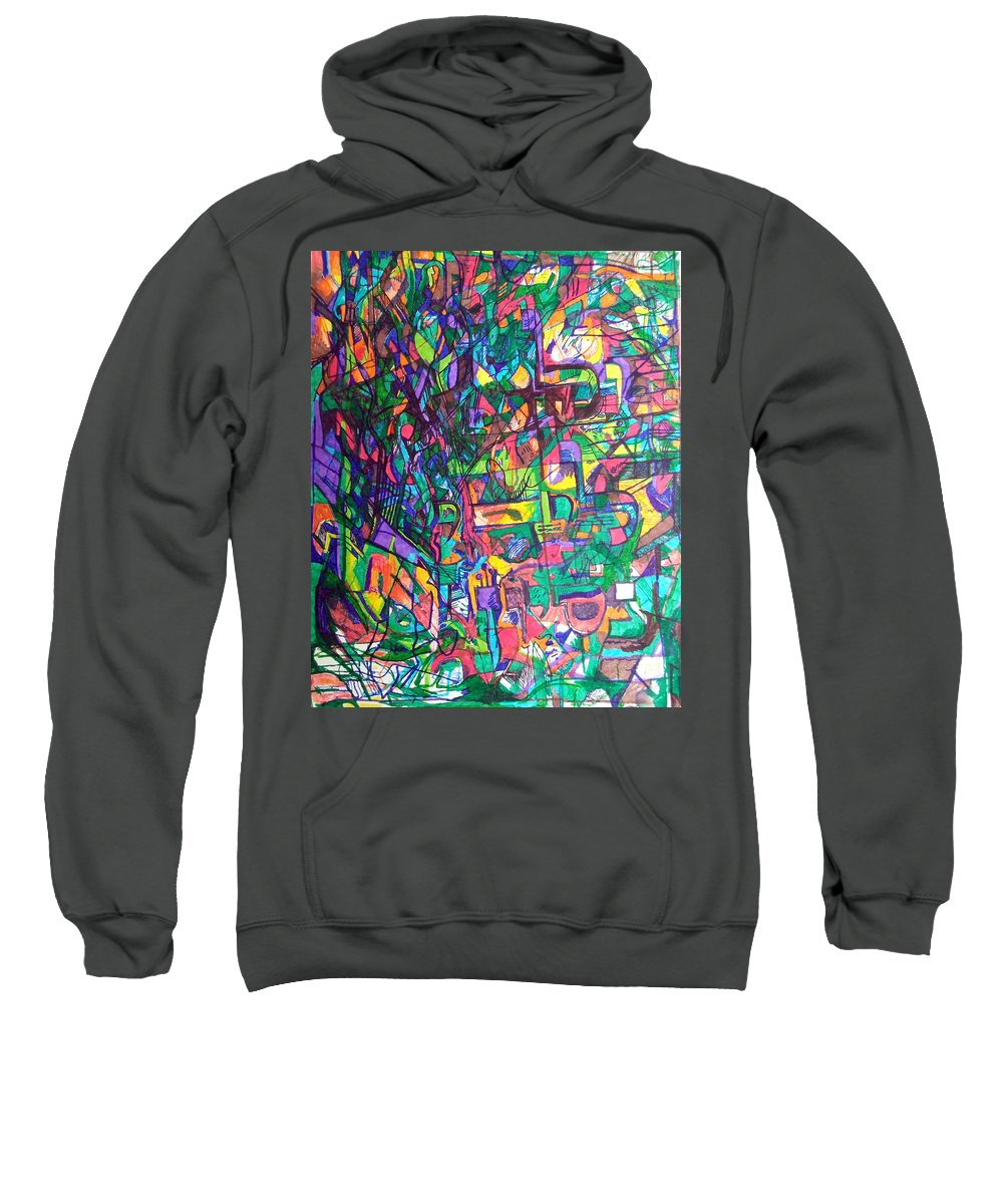 Prayer Sweatshirt featuring the drawing Spare Me From A Divine Test by David Baruch Wolk