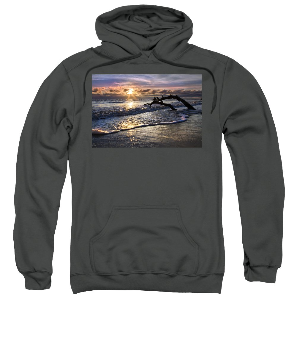 American Sweatshirt featuring the photograph Sparkly Water At Driftwood Beach by Debra and Dave Vanderlaan