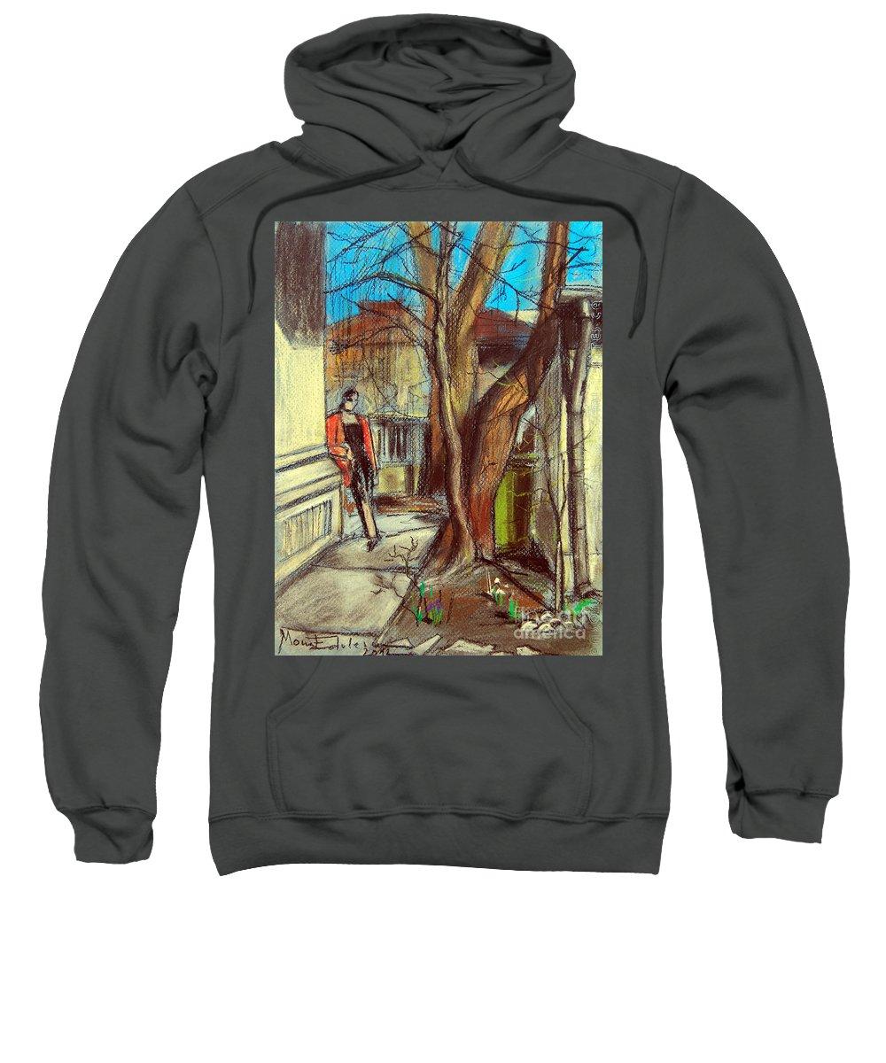 Mona Edulescu Sweatshirt featuring the pastel Spring Afternoon by Mona Edulesco
