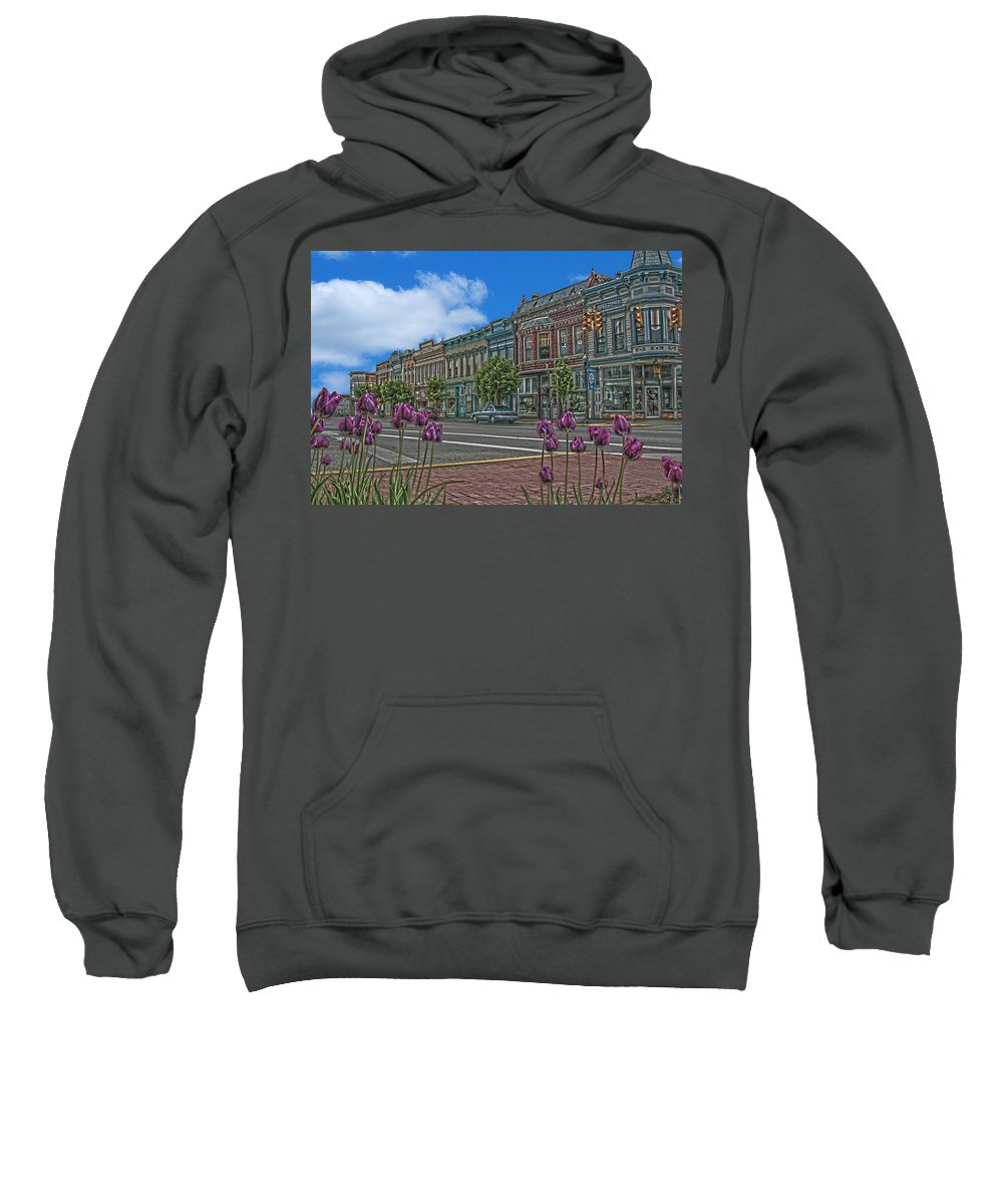 Tulips Sweatshirt featuring the photograph Spring Tulips Downtown Georgetown by Randall Branham