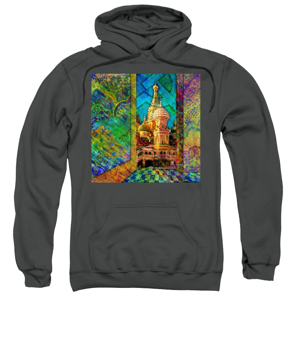 Kremlin Sweatshirt featuring the digital art St Basils by Barbara Berney