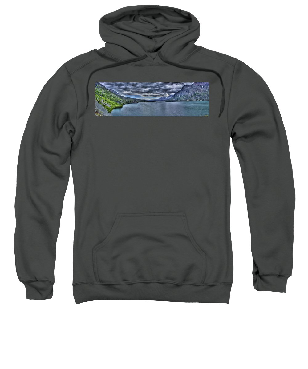 St Mary Lake Sweatshirt featuring the photograph St Mary - Vivid by Sarah Wiggins