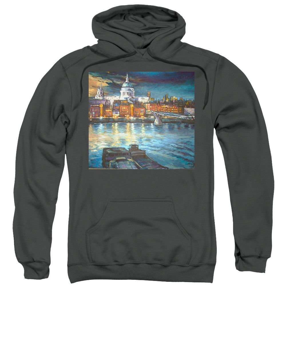 River View Of St Pauls Cathedral Sweatshirt featuring the painting St Pauls Cathedral With Millenium Bridge by Patricia Clements