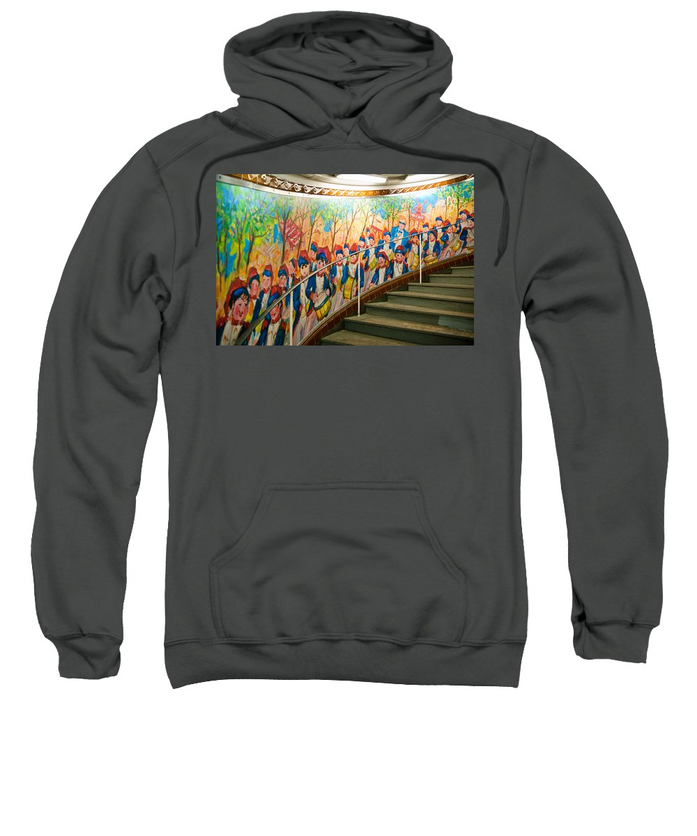 France Sweatshirt featuring the photograph Stairway Mural At Montmartre Metro Exit by Jon Berghoff