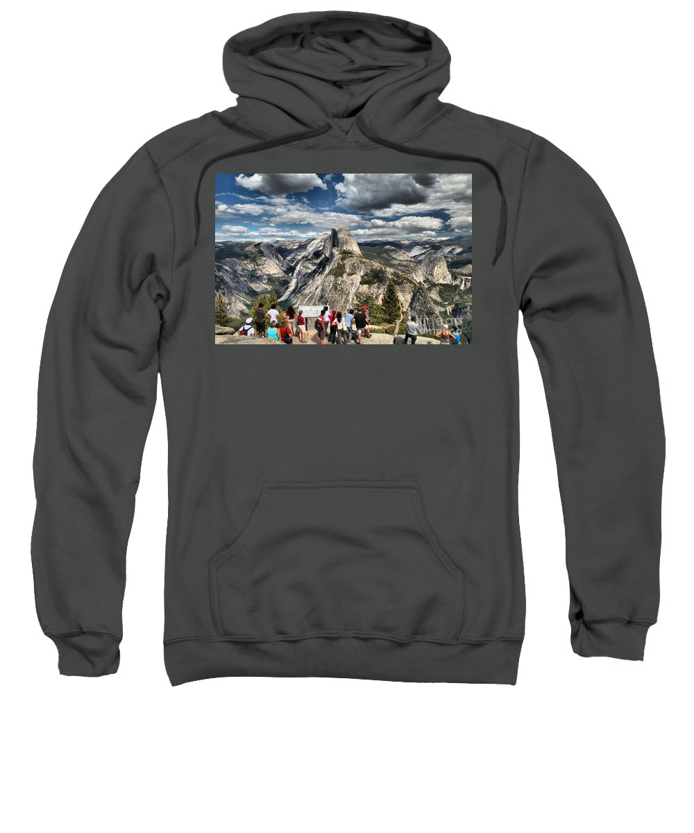 Half Dome Sweatshirt featuring the photograph Standing In Awe by Adam Jewell