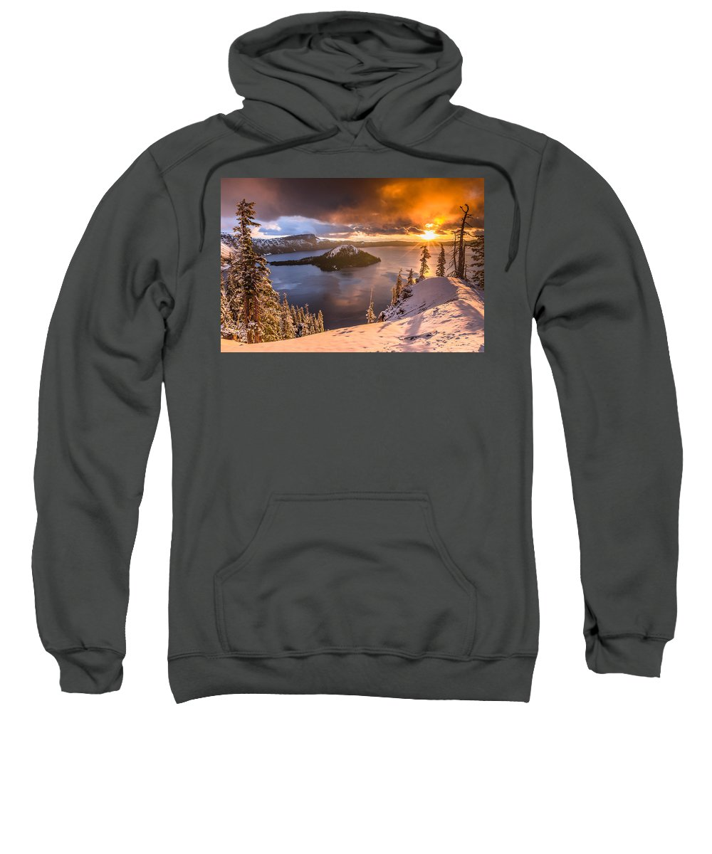 Cascades Sweatshirt featuring the photograph Starburst Sunrise At Crater Lake by Greg Nyquist
