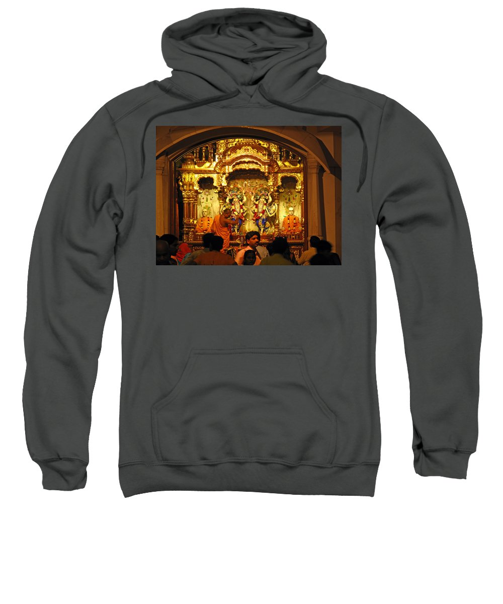 Temple Sweatshirt featuring the photograph Statues Of Ram And Lakshman And Sita At The Iskcon Temple In Delhi by Ashish Agarwal