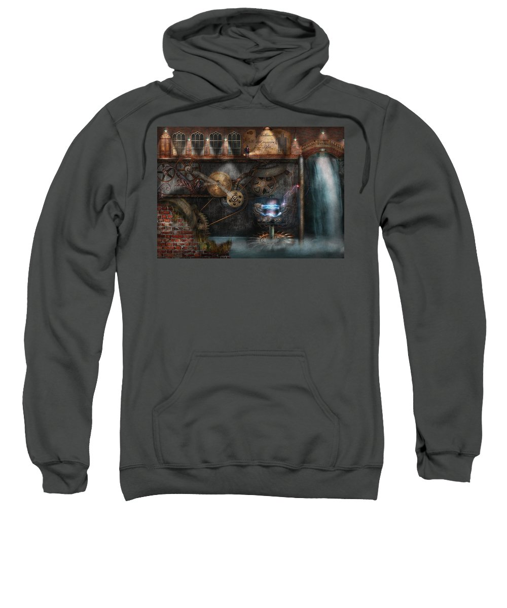Hdr Sweatshirt featuring the photograph Steampunk - Industrial Society by Mike Savad