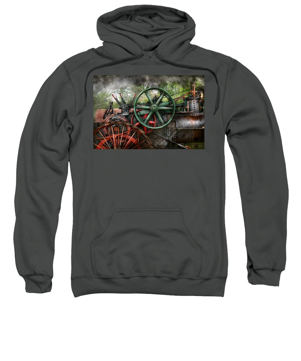 Steampunk Sweatshirt featuring the photograph Steampunk - Machine - Transportation Of The Future by Mike Savad
