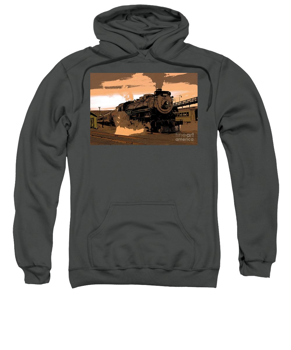 Pennsylvania Sweatshirt featuring the photograph Steamtown Engine 2317 - Posterized by Rich Walter
