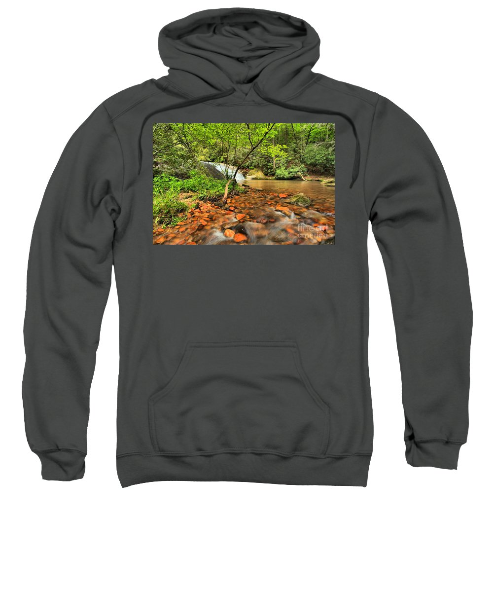Stone Mountain State Park Sweatshirt featuring the photograph Stone Mountain Lower Falls by Adam Jewell