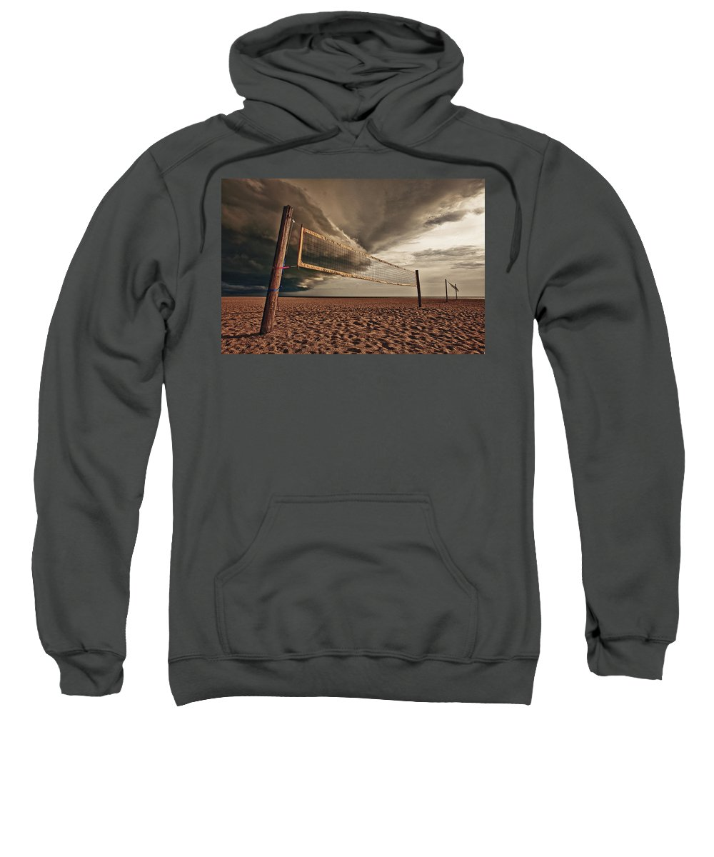 Absence Sweatshirt featuring the photograph Volley Ball Net by Skip Nall