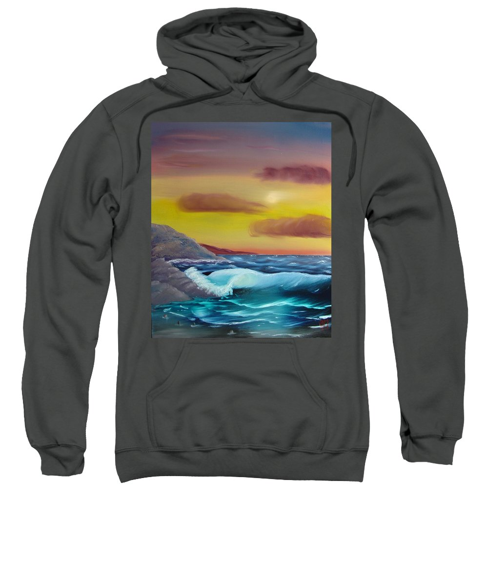 Painting Sweatshirt featuring the painting Stormy Beach by Charles and Melisa Morrison