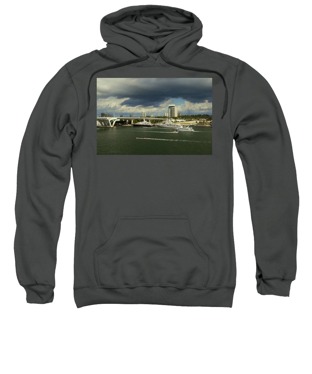 Florida Sweatshirt featuring the photograph Stormy Fort Lauderdale by Gary Wonning