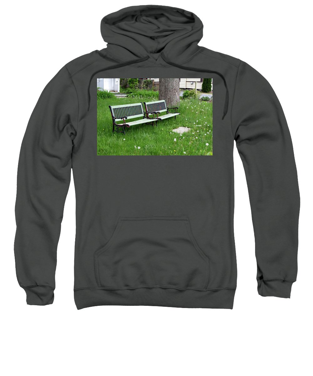 Benches Sweatshirt featuring the photograph Summer Bench And Dandelions by Lorraine Devon Wilke