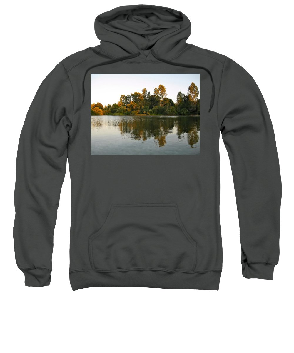 Setting Sun Sweatshirt featuring the photograph Sun Setting On The Lake by Linda Hutchins
