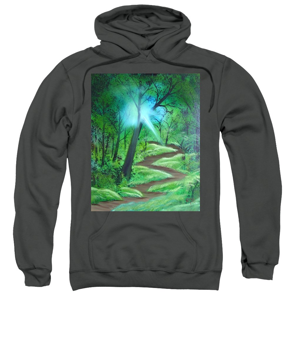 Painting Sweatshirt featuring the painting Sunlight In The Forest by Charles and Melisa Morrison