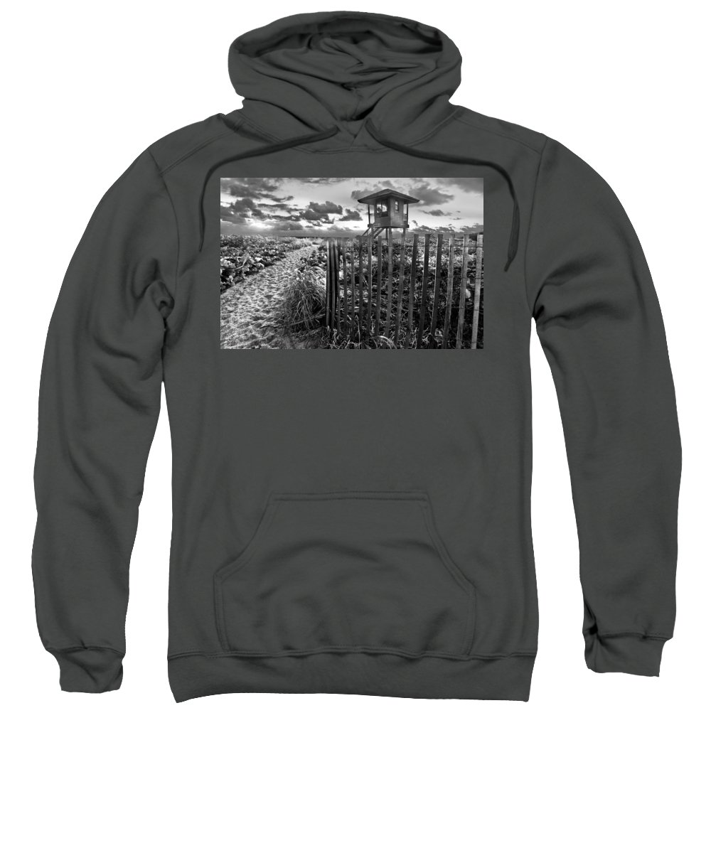 Clouds Sweatshirt featuring the photograph Sunrise Sentinel In Black And White by Debra and Dave Vanderlaan