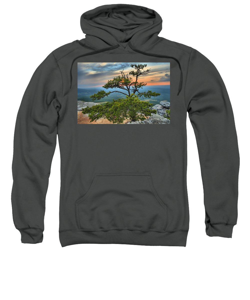 Hanging Rock State Park Sweatshirt featuring the photograph Sunset At Hanging Rock by Adam Jewell