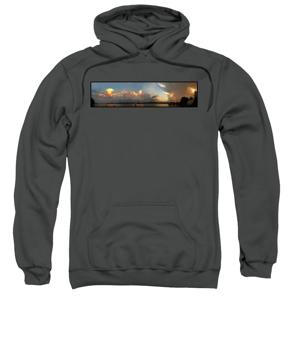Sturgeon Bay Sweatshirt featuring the photograph Sunset Clouds Over The Bay by Tim Nyberg